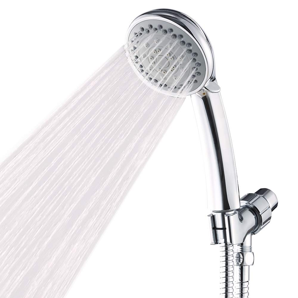 Handheld Shower Head with Hose High Pressure Spray Head Against Low Pressure Water Supply, Hand Held Showerhead 2.5 GPM Multi-Functions w/Water Saving Mode, Bracket and Teflon Tape, Chrome Finish Airisoer
