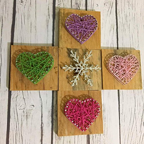 Rustic Wooden String Art 5pcs/set, String Wood Heart