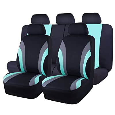 CAR PASS Line Rider 11PCS Universal Fit Car Seat Cover -100% Breathable with 5mm Composite Sponge Inside,Airbag Compatible (Black and Mint Blue): Automotive