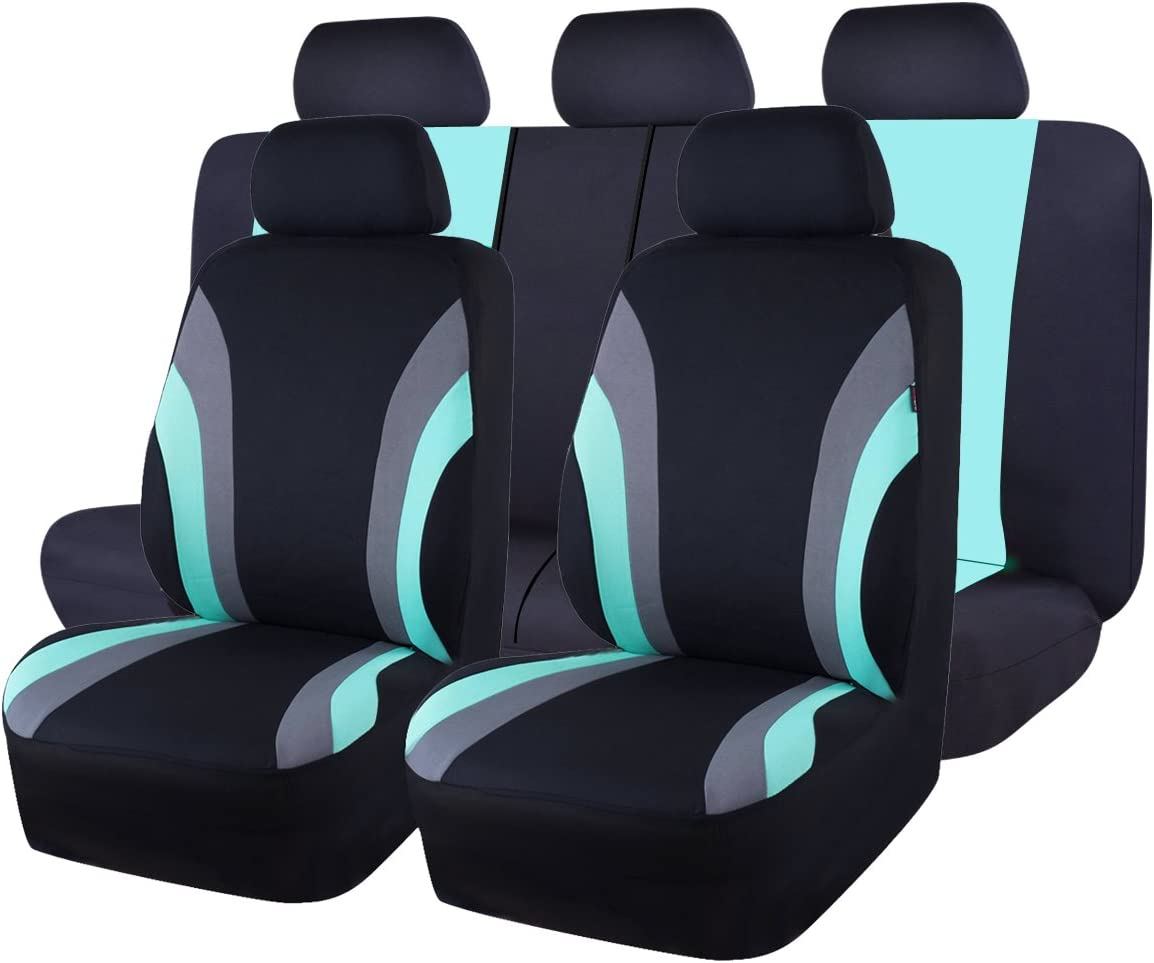 CAR PASS Line Rider 11PCS Universal Fit Car Seat Cover -100% Breathable with 5mm Composite Sponge Inside,Airbag Compatible (Black and Mint Blue)