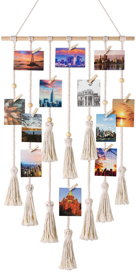 Mkono Hanging Photo Displays Macrame Wall Hanging Picture Organizer with 30 Wood Clips Boho Decor for Home, Living Room, Bedroom, Ivory White, 42.5'' L×17'' W by Mkono