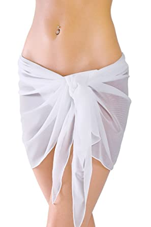 13a1cb3d7ed7c Image Unavailable. Image not available for. Color  Short White Mesh  Swimsuit Sarong Cover ...