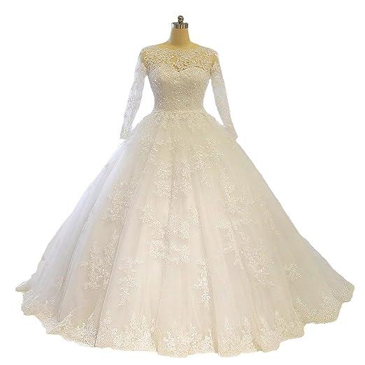 Amanda Novias Wedding Dress Long Sleeve Lace Application Puffy Ball Gown  Bridal Gown (2 caa2f283f9b0