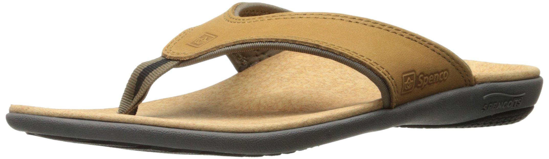 Spenco Men's Yumi Leather Sandal Brown, 14M Medium US