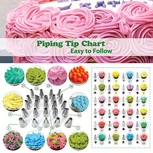 Cake Decorating Supplies Kit with Cake Turntable - Baking kit - Silicone Offset Spatula - Pastry Bags - Icing Tips - Cupcake Decorating Kit with Easy Nozzle Set - Professional Tools for Beginners by Happy Hour Bake (Image #3)