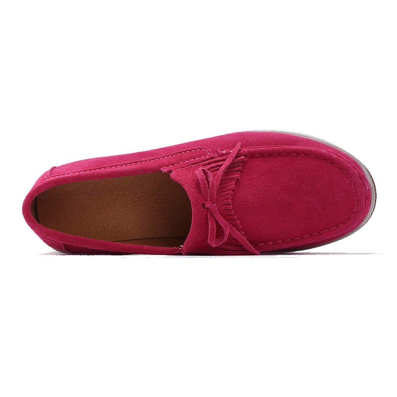 TRULAND Womens Suede Leather Slip-on Comfort Wedge Platform Fringe Moccasins//Hollowed Out