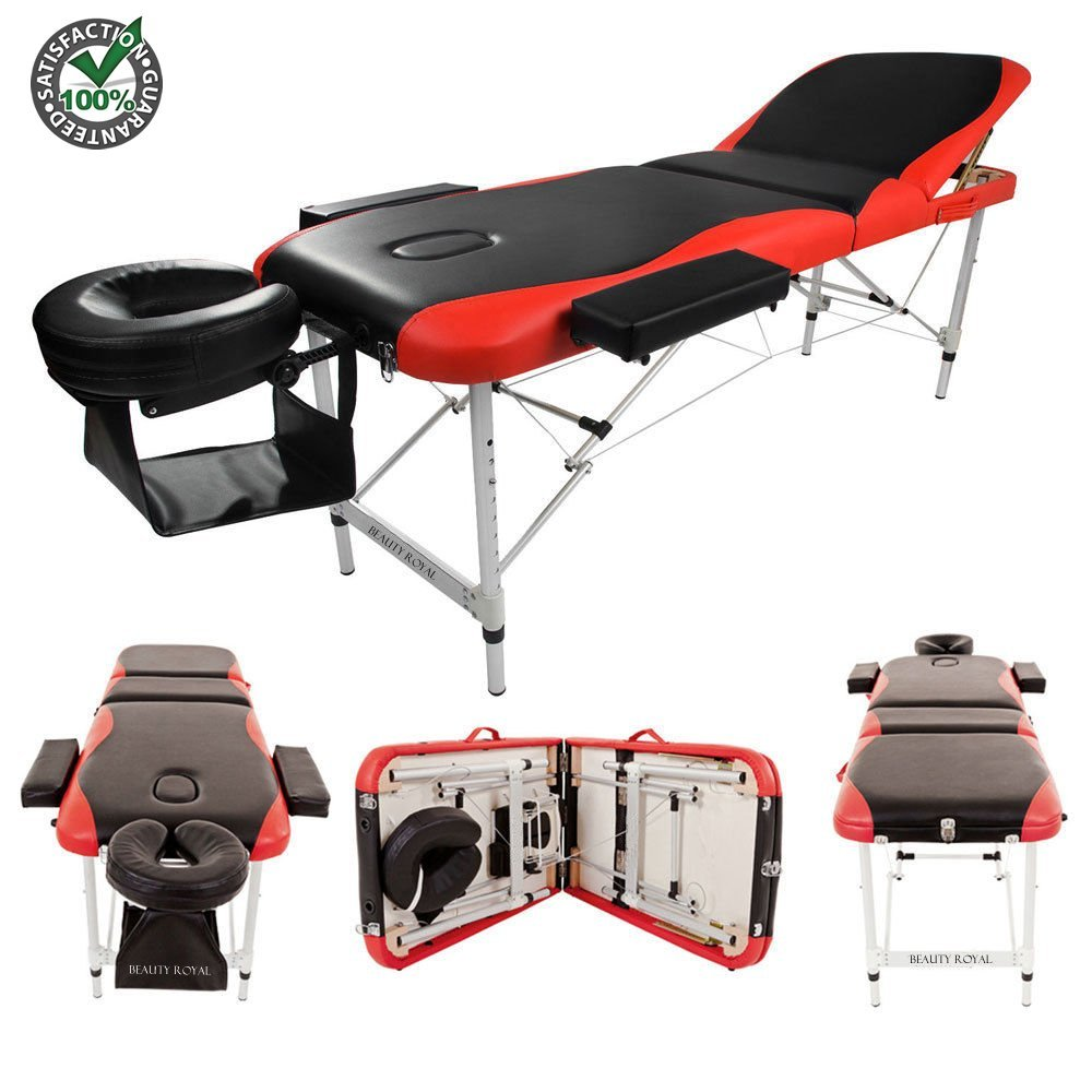 """Portable Massage Table Spa Beauty Tattoo Facial Bed Set Kit with Carrying Case for SPA Bodybuilding Salon Black Red   Foldable 3 Fold Sturdy 84"""" Large Professional Ergonomic Soft Face Rest Comfortable"""