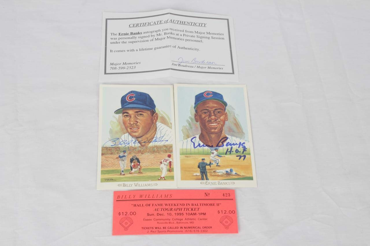 Chicago Cubs Signed Postcard Lot Perez Steele COA MLB Cut Signatures