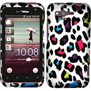 For HTC Rhyme/Bliss 6330 Rubberized Hard Design Case Cover - Colorful Leopard
