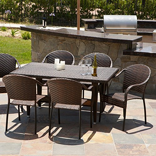Zumba 7 Piece Wicker Outdoor Dining Set -  Best Selling Home, 214033