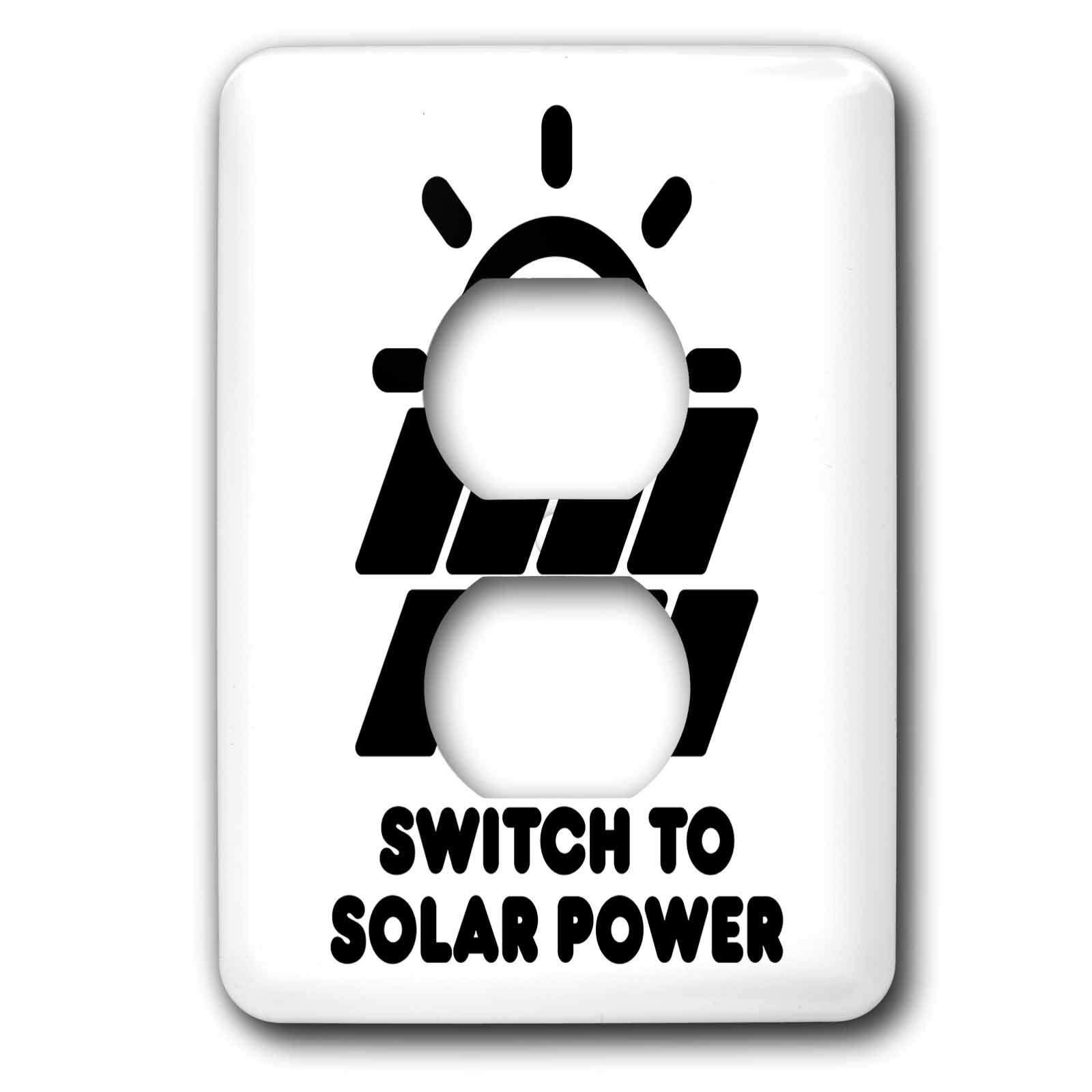 3dRose Carsten Reisinger - Illustrations - Switch to solar power electric power from the sun alternative energy - Light Switch Covers - 2 plug outlet cover (lsp_294721_6)