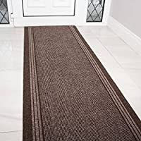 The Rug House Brown Rubber Backed Very Long Hallway Hall Runner Narrow Rugs Custom Length - Sold and Priced Per Foot