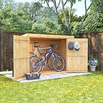 6x3-Overlap-Wooden-Pent-Bike-Log-Tool-Storage-Double-Door-Roof-Felt-Store-Shed-