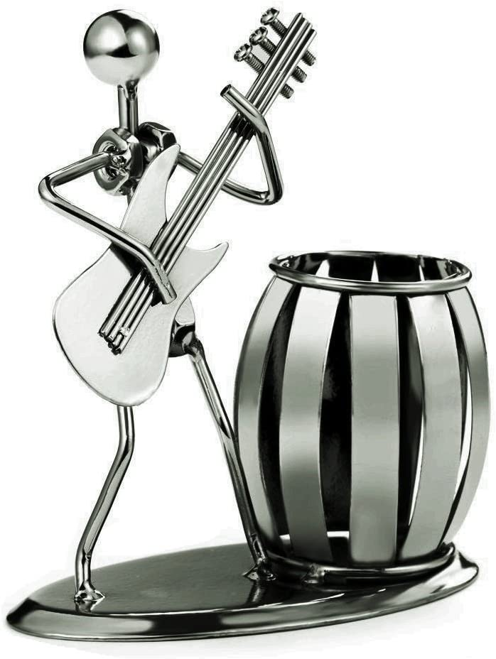 Decorative Pen Organizer/Pencil Holder with Metal Man Playing Eastlion Guitar