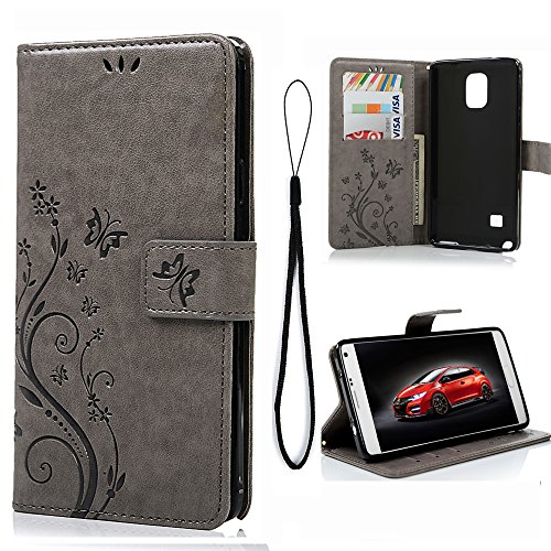 ote 4 Case, Natural Luxury Stand Wallet Purse Credit Card ID Holders Design Flip Folio TPU Soft Bumper PU Leather Ultra Slim Fit Cover for Samsung Galaxy Note 4, Gray ()