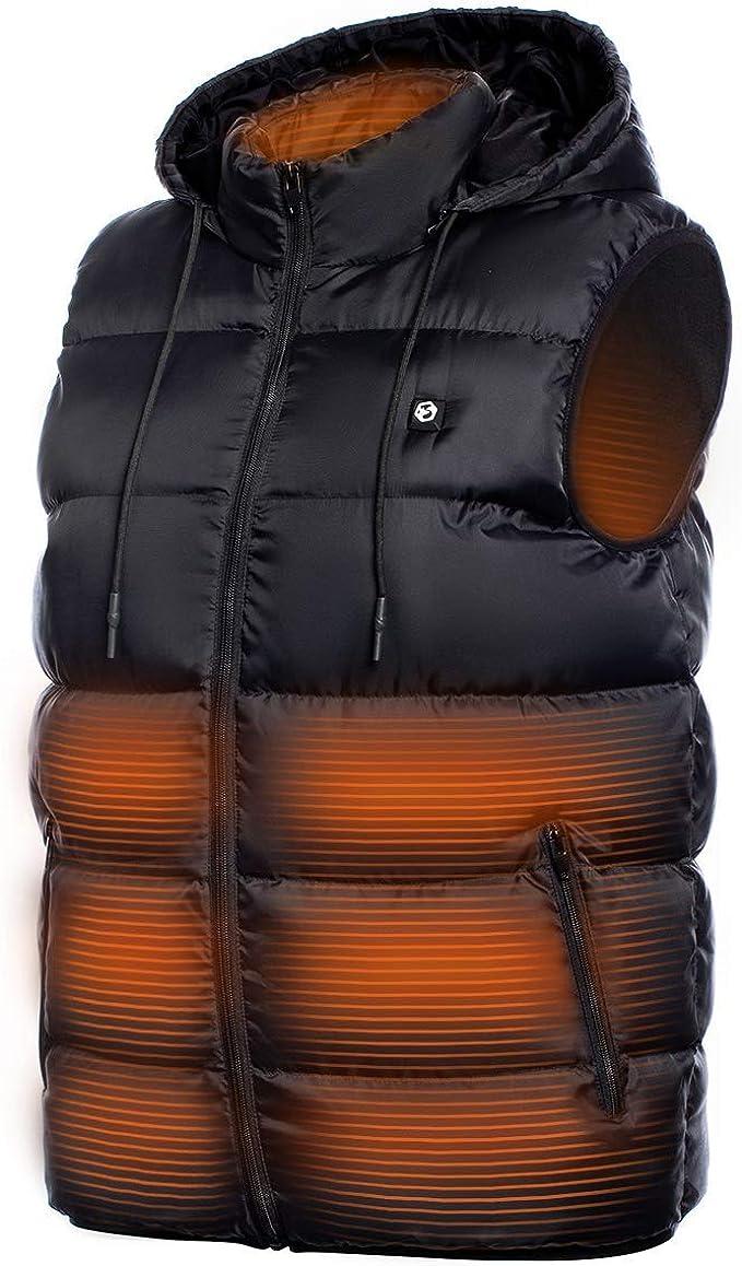 camping senderismo chaleco el/éctrico con 4 zonas de calor invierno esqu/í mujer USB recargable caza para hombre temperatura ajustable Aujelly Chaleco calefactable lavable exterior