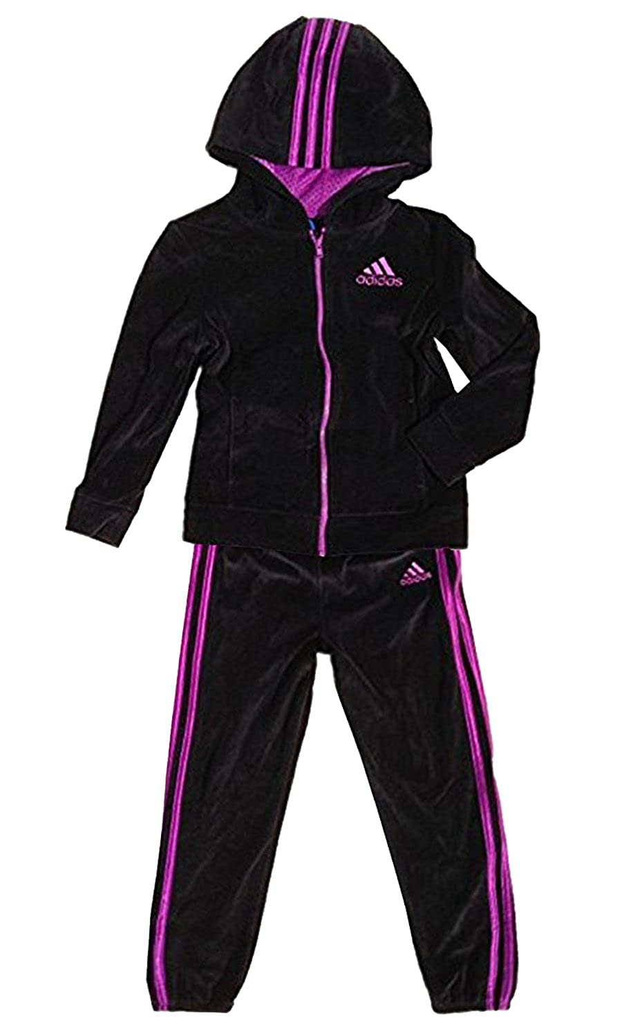 f7ba7da5f81 2 piece set hooded jacket and pants. Space dye styling of fabric. Pink  Adidas brand logo on left chest and left front hip. Full zipper jacket  closure with 2 ...