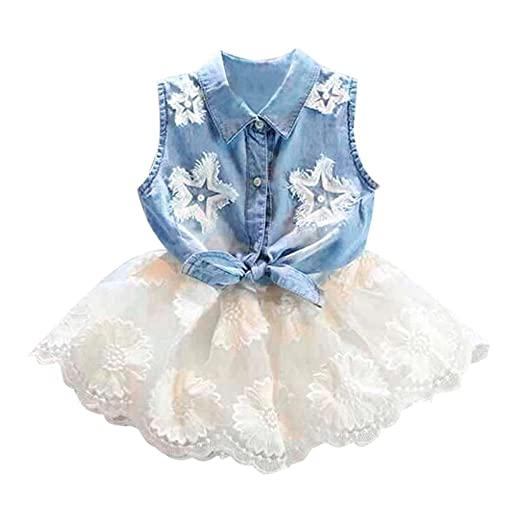 8d8f5a5c5b8a Lurryly 2018 Toddler Kids Baby Girls Denim Vest Tops T-Shirt Tutu Lace  Tulle Skirt