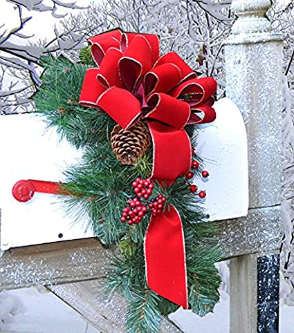 Amazon Com Outdoor Holiday Mailbox Swag With Bow Cr1022 Decorations Pine Home Kitchen