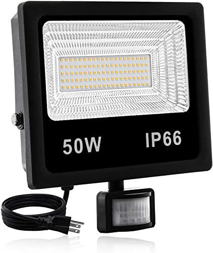 Led Motion Sensor Flood Light Outdoor,50W Security Light with Plug,5000LM,3200K,IP66 Waterproof Motion Sensor Floodlight Outdoor for Garage Yard Patio Pathway Porch Entryways Warm White