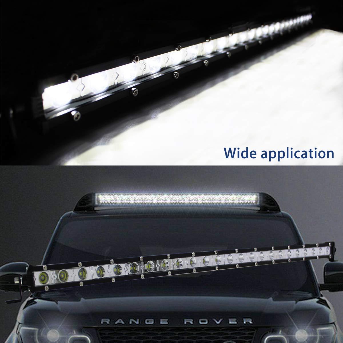 WGL 2Pcs Single Row Led Light Bar 4D 30W Spot LED Working Light White Driving Light Vehicle Off Road Fog Light Roof Bumper Light Bars for Truck SUV ATV Car Boat WGLled