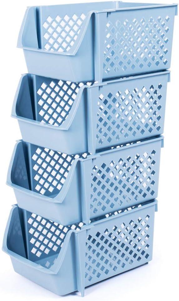 DVHOK 4Pcs Stackable Storage Basket Organizer for Food Snacks Toys Toiletries Plastic Storage Bins Blue