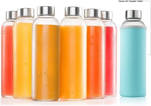 Amazon.com: Sagler botellas de vidrio 6 unidades 18 oz ...