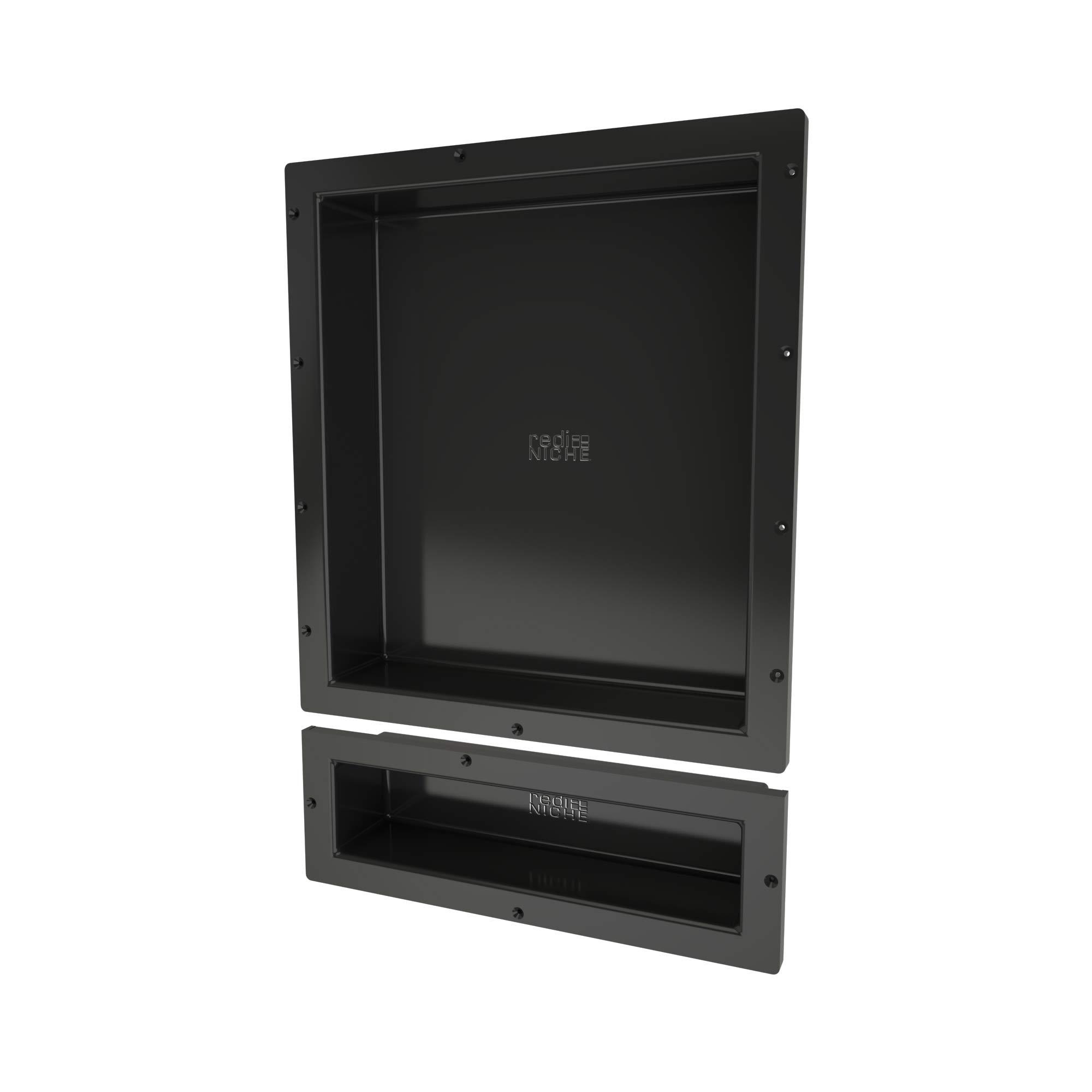 Redi Niche Double Recessed Shower Shelf – Black, Two Shelves, 16-Inch x 26-Inch x 4-Inch