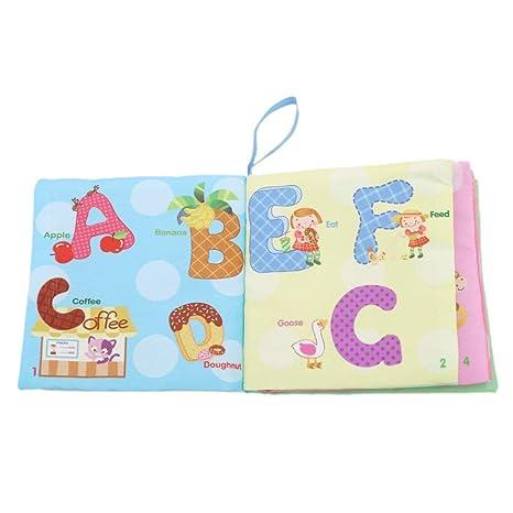 Ogquaton Libro de im/ágenes de tela de alta calidad Beb/é Popular Juguete de tela B/úho Ovejas Ingl/és Libros de tela para beb/és Libro blando Durabilidad