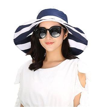 6a6c75faecc01 Ladies Classic Wide Brim Stripes Sun Hat Beach Cap Foldable Packable Cotton  Bowknot Sun Visor Protection
