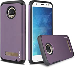 J&D Case Compatible for Moto Z2 Force Case, Heavy Duty [Dual Layer] Hybrid Shock Proof Protective Rugged Bumper Case for Motorola Moto Z2 Force Case - Purple