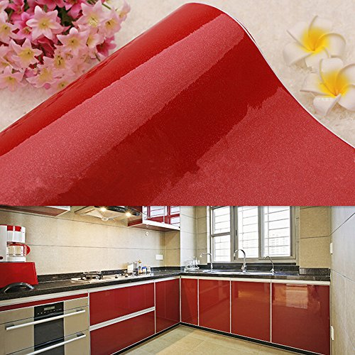 Red Self Adhesive - YIZUNNU Paper Wall Sticker Gloss Self Adhesive Vinyl Kitchen Cupboard Door Cover,24x98.43 Inch,Red