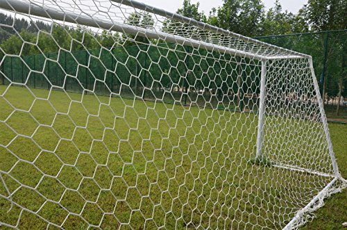 Aoneky Polyester Soccer Goal Net - 24 x 8 Ft - 10 x 6.5 Ft - 4 mm Cord - Replacement Full Size Football Post Net- Heavy Duty Soccer Netting - NOT Include POSTS