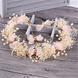 handmade bridal wedding party hair accessories lace headdress tiara diadem crown flaxen hair hair coil twist party sweet vintage hairpin bridesmaid jewelry (meat butterflies fly yarn dance headdress e