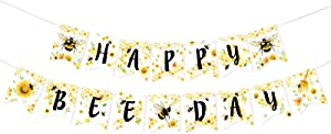 Happy Bee Day Banner - Bumble Bee Themed Birthday Party Decorations for Kids 1st B-Day Honey Bee Party Supplies Indoor Outdoor Hanging Wall Decor