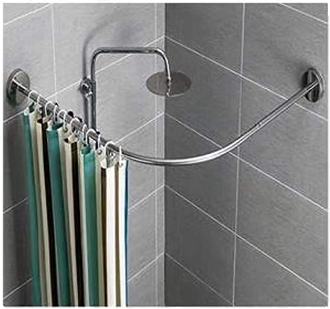 Brass ZKORN Shower Curtain Rod Color L Shaped Curved Shower Rail 304 Stainless Steel Anti-sagging Design High Load Bearing Dry and wet separation for Shower and Bathroom
