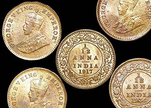 IN 1910 Six (6) British India George V Twelfth of an Anna Coins 1910-1936 KMM509 AU-UNC. 1910-1936 KMM509 AU-UNC. Uncirculated