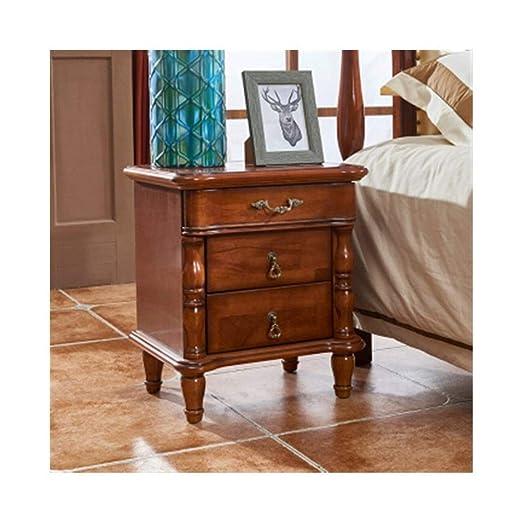 HENG - Mesita de noche de madera maciza para dormitorio, mesa de ...