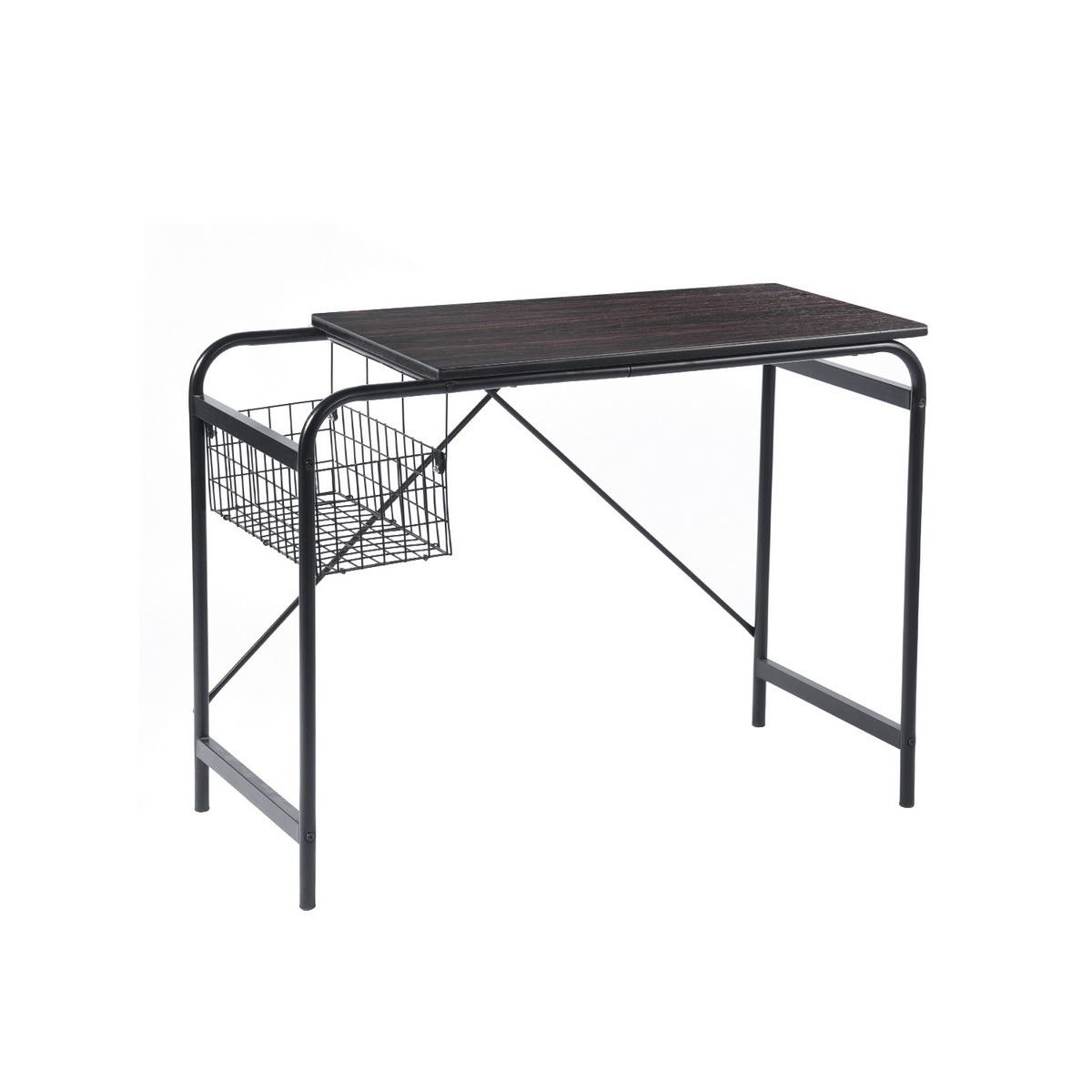 Computer Writing Desk With Metal Storage Basket Industrial