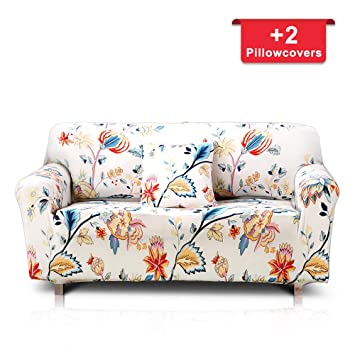 Hipinger Spandex Fabric Stretch Couch Cover Sofa Slipcover Stylish  Furniture Protector for 2 Cushion Couch Lovesaet (Loveseat/ 2 Seater,  Floral ...