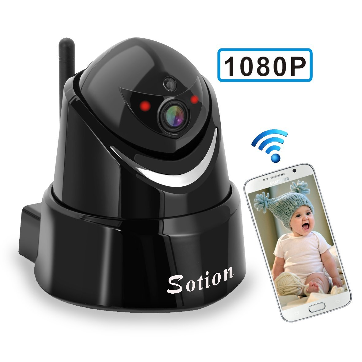 SOTION Full 1080P HD WiFi Internet Wireless Network IP Indoor Home Security Surveillance Video Camera System, Baby and Pet Monitor with Pan and Tilt, Two Way Audio & Night Vision Halan Inc SK04W-1080P
