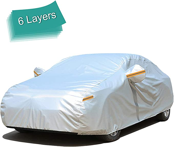 YIBEICO Car Cover Sedan Cover Windproof Dustproof Snowproof Waterproof Scratch Resistant Outdoor UV Protection Full Auto Covers for Sedan