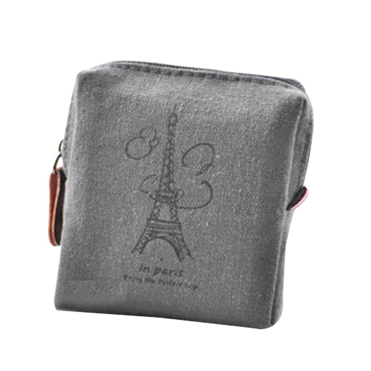 BESTOYARD Vintage Klassische Frauen M/ädchen Leinwand Geldb/örse Zip Wallet Kleine Mini Tasche Tasche Halter Geld Taschen Geschenk Eiffelturm