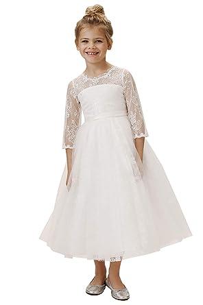 5e01de75862 Amazon.com  Lace Boho Flower Girl Dress Tea Length A Line Baptism Baptism  First Communion Gown  Clothing
