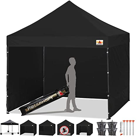 ABCCANOPY Canopy Tent 10 x 10 Pop Up Canopies Commercial Tents Market stall  with 4 Removable Sidewalls and Roller Bag Bonus 4 Weight Bags and 10ft
