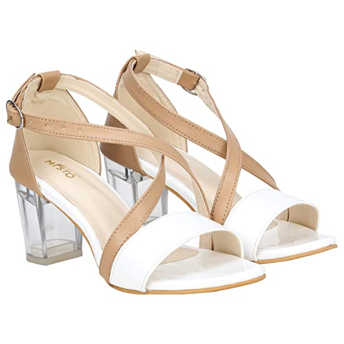b68342483f8 Misto Vagon Women and Girls Casual Transparent Block Heel Sandals in White: Buy  Online at Low Prices in India - Amazon.in