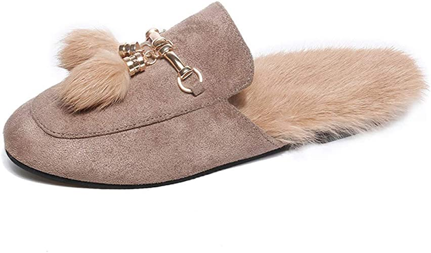 FASHION Mens Rabbit Fur Lined Flat Casual Shoes Casual Slippers Slip on Loafers