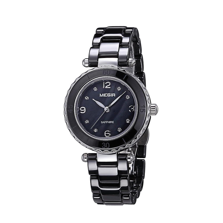 baogela Damen Fashion Schwarz Diamant Elegantes Uhren mit Keramik Armband - Zifferblatt Luxus akzentuierten Kleid