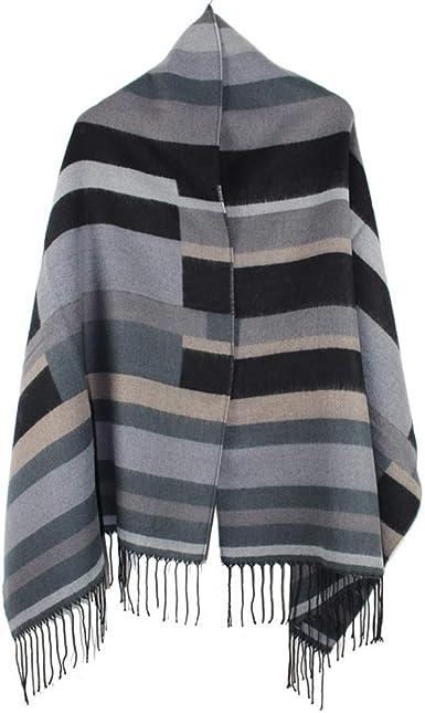 AiNaMei Toalla larga de cachemira imitación bufanda de rayas cálida de otoño e invierno para hombres y mujeres