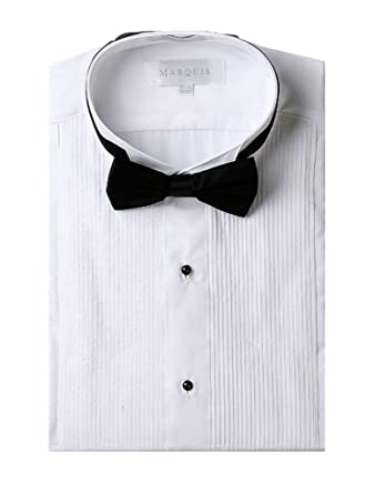 ddc56dce Marquis Men's Wingtip Collar Tuxedo Shirt (Black Bowtie Included) - White  17.5 36/37 at Amazon Men's Clothing store: